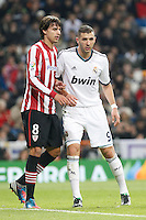 Real Madrid CF vs Athletic Club de Bilbao (5-1) at Santiago Bernabeu stadium. The picture shows Karim Benzema and Ander Iturraspe. November 17, 2012. (ALTERPHOTOS/Caro Marin) NortePhoto
