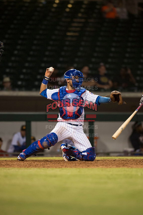 Mesa Solar Sox catcher Jhonny Pereda (6), of the Chicago Cubs organization, throws back to the pitcher during an Arizona Fall League game against the Scottsdale Scorpions at Sloan Park on October 10, 2018 in Mesa, Arizona. Scottsdale defeated Mesa 10-3. (Zachary Lucy/Four Seam Images)