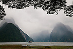 Boat and Mitre Peak, Milford Sound, New Zealand
