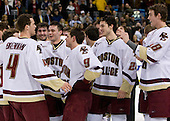 The Eagles waited as the ceremony was set up - Pat Gannon (BC 13), Mike Brennan (BC 4), Benn Ferriero (BC 21), Matt Lombardi (BC 24), Ben Smith (BC 12), Nate Gerbe (BC 9), Tim Filangieri (BC 5), Matt Lombardi (BC 24), Alex Kremer (BC 29), Tim Kunes (BC 6), Kyle Kucharski (BC 18). The Boston College Eagles defeated the Harvard University Crimson 6-5 in overtime on Monday, February 11, 2008, to win the 2008 Beanpot at the TD Banknorth Garden in Boston, Massachusetts.