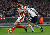 9th December 2017, Wembley Stadium, London England; EPL Premier League football, Tottenham Hotspur versus Stoke City; Kieran Trippier of Tottenham Hotspur puts pressure on Erik Pieters of Stoke City