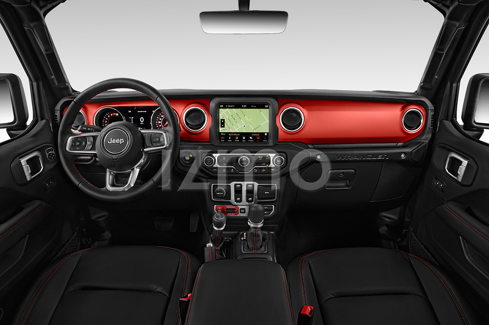 Stock photo of straight dashboard view of 2020 JEEP Wrangler Rubicon 5 Door SUV Dashboard