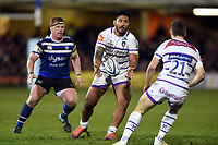 Manu Tuilagi of Leicester Tigers passes the ball. Gallagher Premiership match, between Bath Rugby and Leicester Tigers on December 30, 2018 at the Recreation Ground in Bath, England. Photo by: Patrick Khachfe / Onside Images