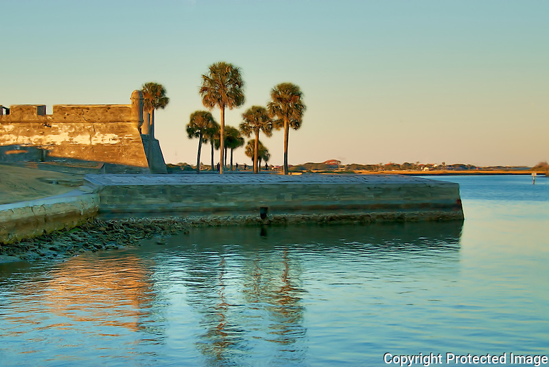 Castillo de San Marcos National Monument overlooking the Matanza's Bay on a winter evening in St. Augustine, Florida