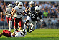 20 September 2014:  Penn State WR DaeSean Hamilton (5) runs away from UMass DB Joe Colton (25). The Penn State Nittany Lions defeated the University of Massachusetts Minutemen 48-7 at Beaver Stadium in State College, PA.