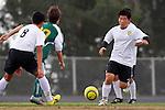 Palos Verdes, CA 02/07/12 - Kyle Katayama (Peninsula #6) in action during the Mira Costa vs Peninsula Boys Varsity soccer bay league game.