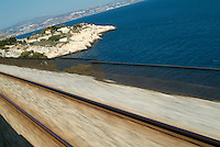 Mediterranean sea viewed from a travelling train, Côte Bleue, Provence, France.