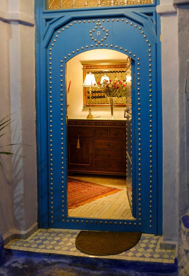 CHEFCHAOUEN, MOROCCO - CIRCA APRIL 2017:  Entrance door of the traditional Riad Cherifa in Chefchaouen.