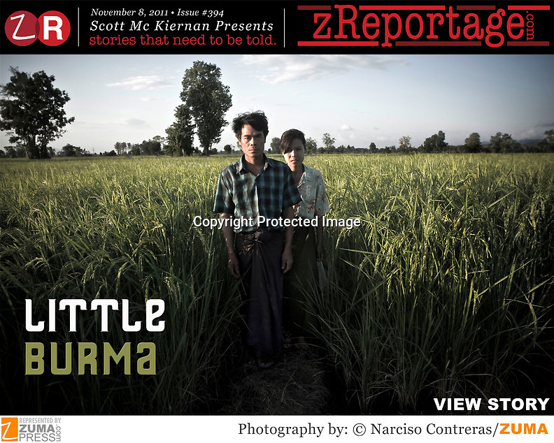zReportage.com Story of the Week #394 - Launched November 8, 2011 - Full multimedia experience: audio, stills, text and or video: Go to http://www.zReportage.com to see more - Mae Sot in western Thailand is home to one of the largest Burmese communities outside of Burma. An estimated 1 million migrants have chosen to labor in the sweatshops and factories of Thailand rather than strive for survival at home in neighboring Burma. The global economic downturn has made their prospects even bleaker. An estimated 120,000 migrant workers live in the Thai border town of Mae Sot. Many working in garment factories, while others have to take the dirty and dangerous jobs processing fish or spraying crops, all working for half minimum wage. Analysts say that unless there is a political settlement to restore democracy in Burma, the Burmese people will continue to flee the country and scatter across Southeast Asia. (Credit Image: © Narciso Contreras/zReportage.com/ZUMAPRESS.com)
