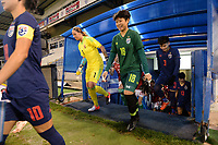 20190227 - LARNACA , CYPRUS : Hungarian goalkeeper Reka Szocs (left) and Thai goalkeeper Sukanya Chor Charoenying (right) pictured during a women's soccer game between Thailand and Hungary , on Wednesday 27 February 2019 at the Antonis Papadopoulos Stadium in Larnaca , Cyprus . This is the first game in group B for both teams during the Cyprus Womens Cup 2019 , a prestigious women soccer tournament as a preparation on the FIFA Women's World Cup 2019 in France and the Uefa Women's Euro 2021 qualification duels. PHOTO SPORTPIX.BE | STIJN AUDOOREN