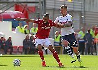 Nottingham Forest's Lewis Grabban holds off Preston North End's Patrick Bauer<br /> <br /> Photographer David Shipman/CameraSport<br /> <br /> The EFL Sky Bet Championship - Nottingham Forest v Preston North End - Saturday 31st August 2019 - The City Ground - Nottingham<br /> <br /> World Copyright © 2019 CameraSport. All rights reserved. 43 Linden Ave. Countesthorpe. Leicester. England. LE8 5PG - Tel: +44 (0) 116 277 4147 - admin@camerasport.com - www.camerasport.com