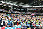 Huddersfield's fans applaud for the victims of the Manchster bombing during the Championship Play-Off Final match at Wembley Stadium, London. Picture date: May 29th, 2017. Pic credit should read: David Klein/Sportimage
