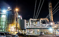 Hawaiian Commercial & Sugar Company mill at night in Pu'unene, Maui