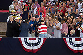United States President Donald J. Trump honors guests at his Salute to America event in Washington D.C. on July 4, 2019.  The event has been criticized as politicizing a traditionally non-political holiday.<br /> <br /> Credit: Stefani Reynolds / CNP