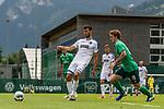 07.07.2019, Parkstadion, Zell am Ziller, AUT, TL Werder Bremen Zell am Ziller / Zillertal Tag 03 - FSP Blitzturnier<br /> <br /> im Bild<br /> Lukas Fröde / Froede (Karlsruher SC #04),<br /> Joshua Sargent (Werder Bremen #19), <br /> <br /> im dritten Spiel des Blitzturniers SV Werder Bremen vs Karlsruher SC, <br /> <br /> Foto © nordphoto / Ewert