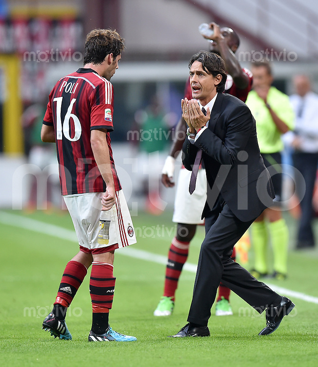FUSSBALL INTERNATIONAL   SERIE A   SAISON  2014/2015   01. Spieltag AC Mailand - Lazio Rom                      31.08.2014 Trainer Filippo Inzaghi (re, AC Mailand) mit Andrea Poli (AC Mailand)