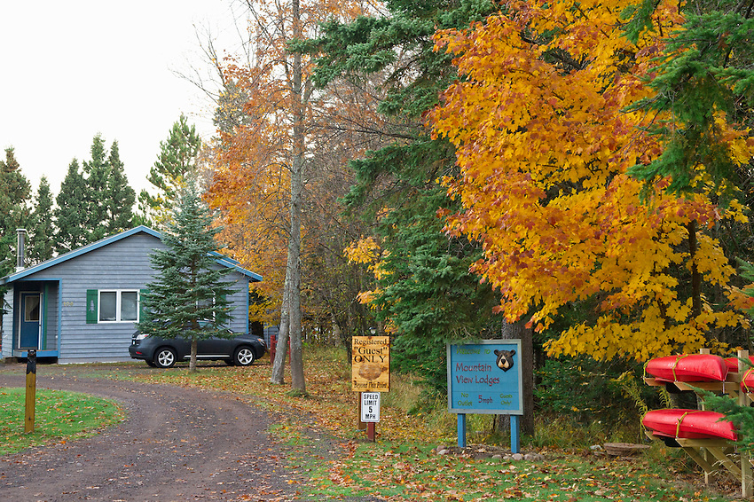 Mountain View Lodges on Lake Superior near the Porcupine Mountains State Park in Silver City Michigan in autumn.