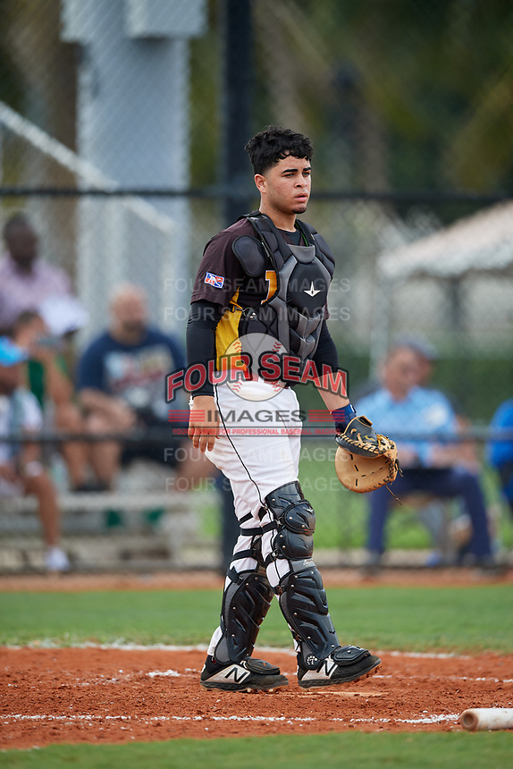 Hector Garcia (10) during the Dominican Prospect League Elite Florida Event at Pompano Beach Baseball Park on October 15, 2019 in Pompano beach, Florida.  (Mike Janes/Four Seam Images)