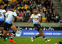 Fiji's Henry Raiwalui passes during the 2017 Rugby League World Cup quarterfinal match between New Zealand Kiwis and Fiji at Wellington Regional Stadium in Wellington, New Zealand on Saturday, 18 November 2017. Photo: Dave Lintott / lintottphoto.co.nz