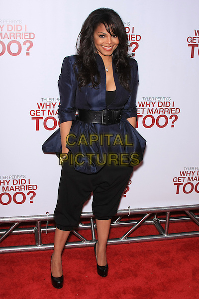 """JANET JACKSON.attending the Special New York Screening of """"Why Did I Get Married Too?"""" held at the School of Visual Arts Theater, New York, NY,.March 22nd, 2010..full length fringe navy blue jacket waist belt black cropped trousers hands in pockets shoes heels platform smiling                                                               CAP/LNC/TOM.©LNC/Capital Pictures."""