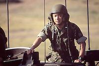 - US Marines, tank crewman on an amphibious armored vehicle  LVTP during NATO exercises at cape Teulada (Sardinia)....- US Marines, carrista a bordo di un veicolo blindato anfibio LVTP durante esercitazioni NATO a capo Teulada (Sardegna)