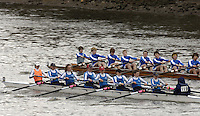 Chiswick, London. ENGLAND, 09.03.2006, Headington JW 8+ [Foregrond] pass Canford's J15 8+ as the crews race along, Corney Reach, during the  Schools Head of the River Race from Chiswick Bridge to Putney  on Thursday 9th March    © Peter Spurrier/Intersport-images.com.. Schools Head of the River Race. Rowing Course: River Thames, Championship course, Putney to Mortlake 4.25 Miles