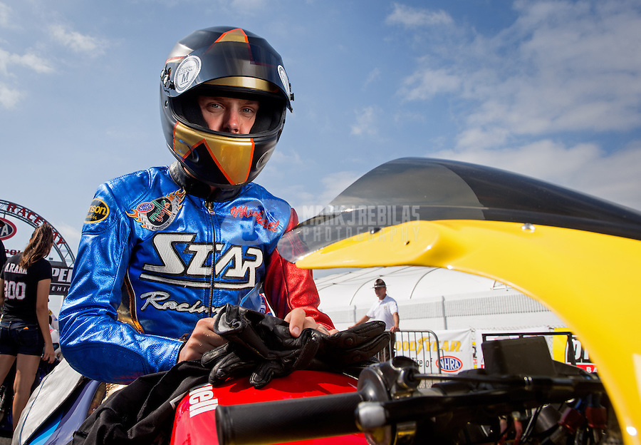 Sept. 1, 2013; Clermont, IN, USA: NHRA pro stock motorcycle rider Michael Ray Jr during qualifying for the US Nationals at Lucas Oil Raceway. Mandatory Credit: Mark J. Rebilas-