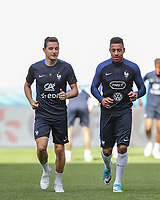 Corentin Tolisso (right) (Lyon) & Florian Thauvin (Marseille) of France during the France National Team Training session ahead of the match with England tomorrow evening at Stade de France, Paris, France on 12 June 2017. Photo by David Horn / PRiME Media Images.