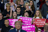 Supporters chant as United States President Donald J. Trump speaks during a Make America Great Again campaign rally at Atlantic Aviation in Moon Township, Pennsylvania on March 10th, 2018. Credit: Alex Edelman / CNP