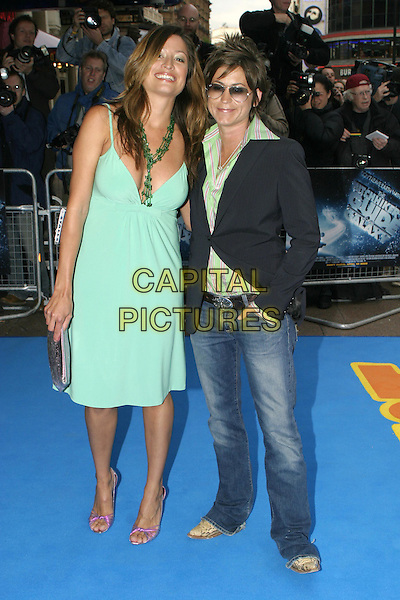 """REBECCA LOOS  & EMMA BASDEN.""""The Hitchhiker's Guide to the Galaxy"""" World film Premiere.UCI Empire, Leicester Square, London,.April 20th 2005..full length gren turquoise dress beads necklace .Ref: AH.www.capitalpictures.com.sales@capitalpictures.com.©Adam Houghton/Capital Pictures."""