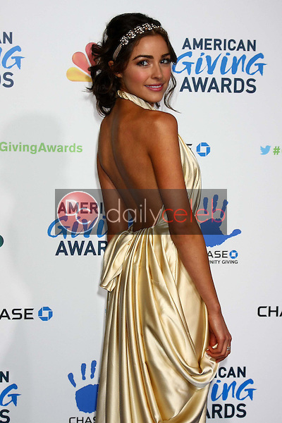 LOS ANGELES - DEC 7:  Olivia Culpo arrives to the 2012 American Giving Awards at Pasadena Civic Center on December 7, 2012 in Pasadena, CA