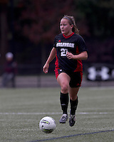 NC State midfielder Ariela Schreibeis (21) brings the ball forward. Boston College defeated North Carolina State,1-0, on Newton Campus Field, on October 23, 2011.