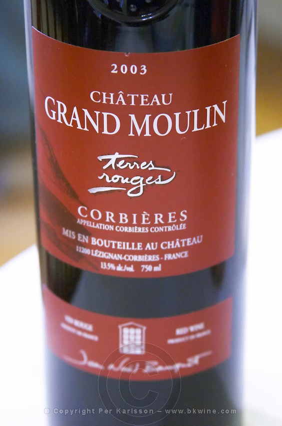 Cuvee Terres Rouges 2003 red. Chateau Grand Moulin. In Lezignan-Corbieres. Les Corbieres. Languedoc. France. Europe. Bottle.