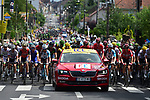 The peloton in the neutral zone before the start of Stage 8 of the 104th edition of the Tour de France 2017, running 187.5km from Dole to Station des Rousses, France. 8th July 2017.<br /> Picture: ASO/Pauline Ballet | Cyclefile<br /> <br /> <br /> All photos usage must carry mandatory copyright credit (&copy; Cyclefile | ASO/Pauline Ballet)