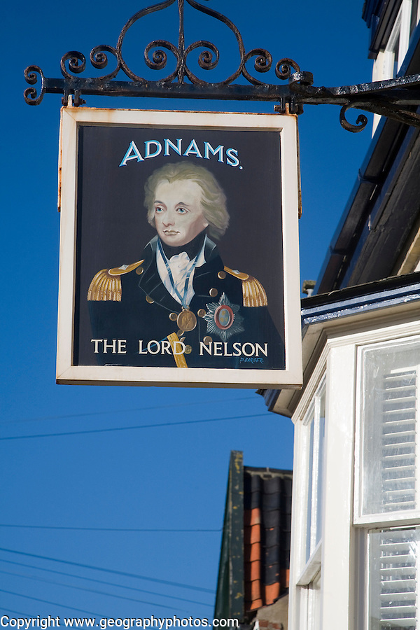 Pub sign The Lord Nelson an Adnams public house, Southwold, Suffolk, England