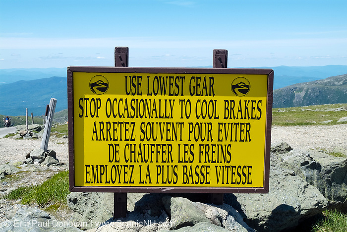 Use lowest gear sign along the Mount Washington Auto Road, near the summit of Mount Washington, in the White Mountains, New Hampshire during the summer months.