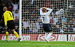 David Beckham holds his head as he watches the ball go wide when he was open to score during the Friendly International match at Wembley Stadium, London. Picture date 28th May 2008. Picture credit should read: Simon Bellis/Sportimage