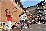 """""""Coloriamo le differenze"""", inaugurazione del murale dipinto dai bambini nel cortile della scuola Deledda di via Ternengo, con la collaborazione del Museo di Arte Contemporanea del Castello di Rivoli. Giugno 2013"""
