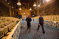 18 May 2016 - London England - Cleaners and Police Security make preparations in the Royal Gallery ahead of the State Opening of Parliament, Houses of Parliament, London. The State Opening of Parliament marks the formal start of the parliamentary year and the Queen's Speech sets out the government's agenda for the coming session. Photo Credit: ALPR/AdMedia