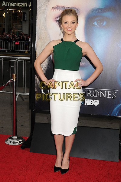 """Natalie Dormer.""""Game Of Thrones"""" 3rd Season Los Angeles Premiere held at the TCL Chinese Theatre, Hollywood, California, USA..March 18th, 2013.full length black shoes green top white skirt hands on hips pleats folds .CAP/ADM/BP.©Byron Purvis/AdMedia/Capital Pictures."""