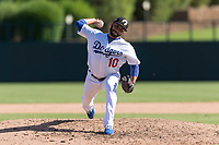 Glendale Desert Dogs relief pitcher Jordan Sheffield (10), of the Los Angeles Dodgers organization, delivers a pitch during an Arizona Fall League game against the Mesa Solar Sox at Camelback Ranch on October 15, 2018 in Glendale, Arizona. Mesa defeated Glendale 8-0. (Zachary Lucy/Four Seam Images)