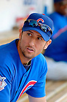 3 July 2005: Nomar Garciaparra, shortstop for the Chicago Cubs, waits in the team dugout prior to a tribute to his wife Mia Hamm at Wrigley Field where the Cubs hosted the Washington Nationals. The Nationals defeated the Cubs 5-4 in 12 innings to sweep the 3-game series at Wrigley Field in Chicago, IL. Mandatory Photo Credit: Ed Wolfstein