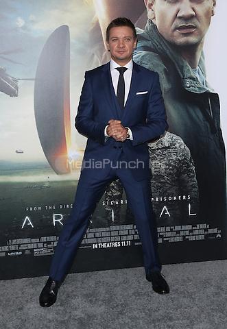 "Westwood, CA - NOVEMBER 06: Jeremy Renner at Premiere Of Paramount Pictures' ""Arrival"" At Regency Village Theatre, California on November 06, 2016. Credit: Faye Sadou/MediaPunch"