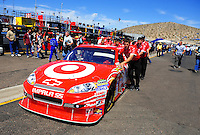 Apr 17, 2009; Avondale, AZ, USA; The car of NASCAR Sprint Cup Series driver Juan Pablo Montoya is pushed through the garage during practice for the Subway Fresh Fit 500 at Phoenix International Raceway. Mandatory Credit: Mark J. Rebilas-