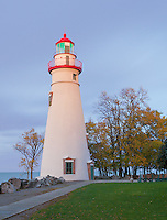 Marblehead Lighthouse State Park, OH<br /> Marblehead Lighthouse (1819) at dusk on Lake Erie, oldest lighthouse in continuous operatoin on the Great Lakes