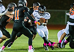 WATERTOWN, CT. 11 October 2019-101119BS372 - Ansonia running back Shykeem Harmon #3 runs with the ball through a big hole towards Watertown's Leo Kolonsky (11) defending, during a NVL game of the unbeaten between Ansonia and Watertown at Watertown High School on Friday. Bill Shettle Republican-American