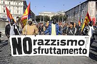 Roma, 11 Marzo 2011.Sciopero e corteo del sindacato autonomo Unione Sindacale di Base.Striscione contro il razzismo e lo sfruttamento degli immigrati