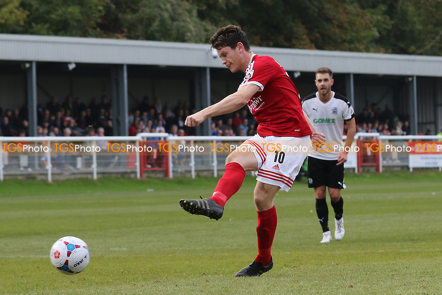 Connor Jennings scores Wrexham's opening goal from the penalty spot during Dover Athletic vs Wrexham at the Crabble Athletic Ground, Dover
