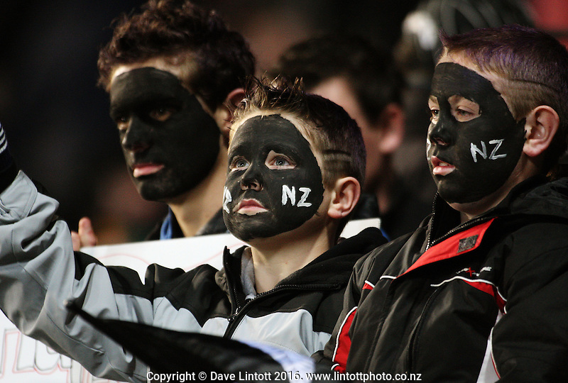 Face-painted All Blacks fans. Tri Nations - All Blacks v Australia at Eden Park, Auckland, New Zealand. Saturday 14 July 2009. Photo: Dave Lintott / lintottphoto.co.nz