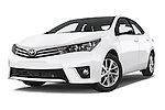 Stock pictures of low aggressive front three quarter view of a 2014 Toyota Corolla Comfort 4 Door Sedan 2WD Low Aggressive